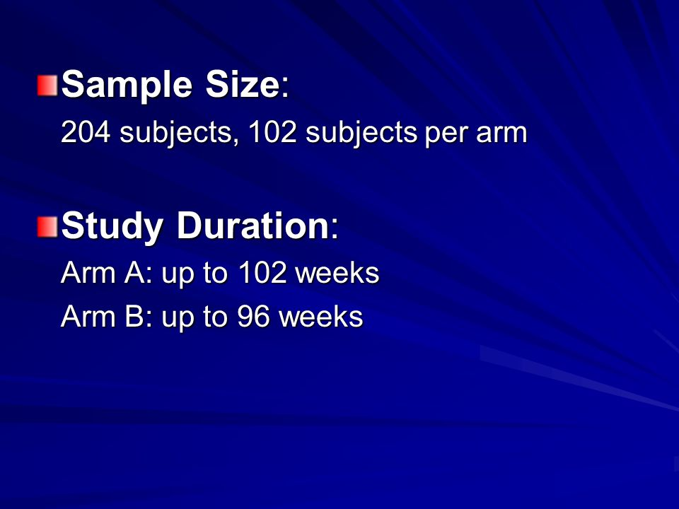 Sample Size: Study Duration: 204 subjects, 102 subjects per arm