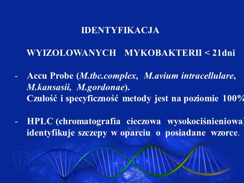 IDENTYFIKACJAWYIZOLOWANYCH MYKOBAKTERII < 21dni. Accu Probe (M.tbc.complex, M.avium intracellulare,