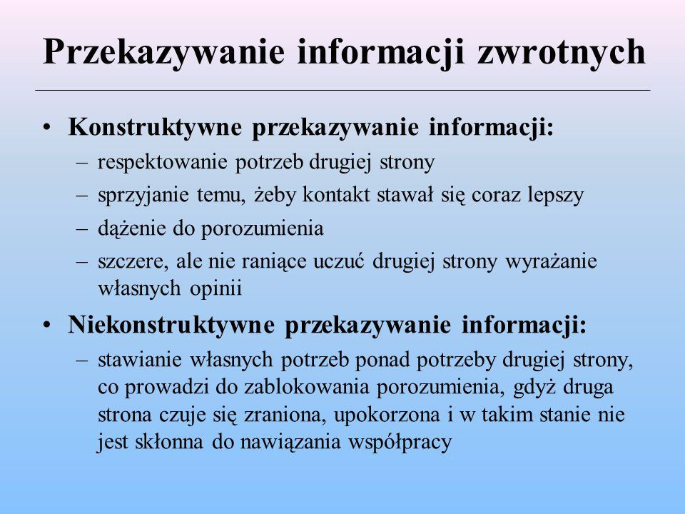 Przekazywanie informacji zwrotnych