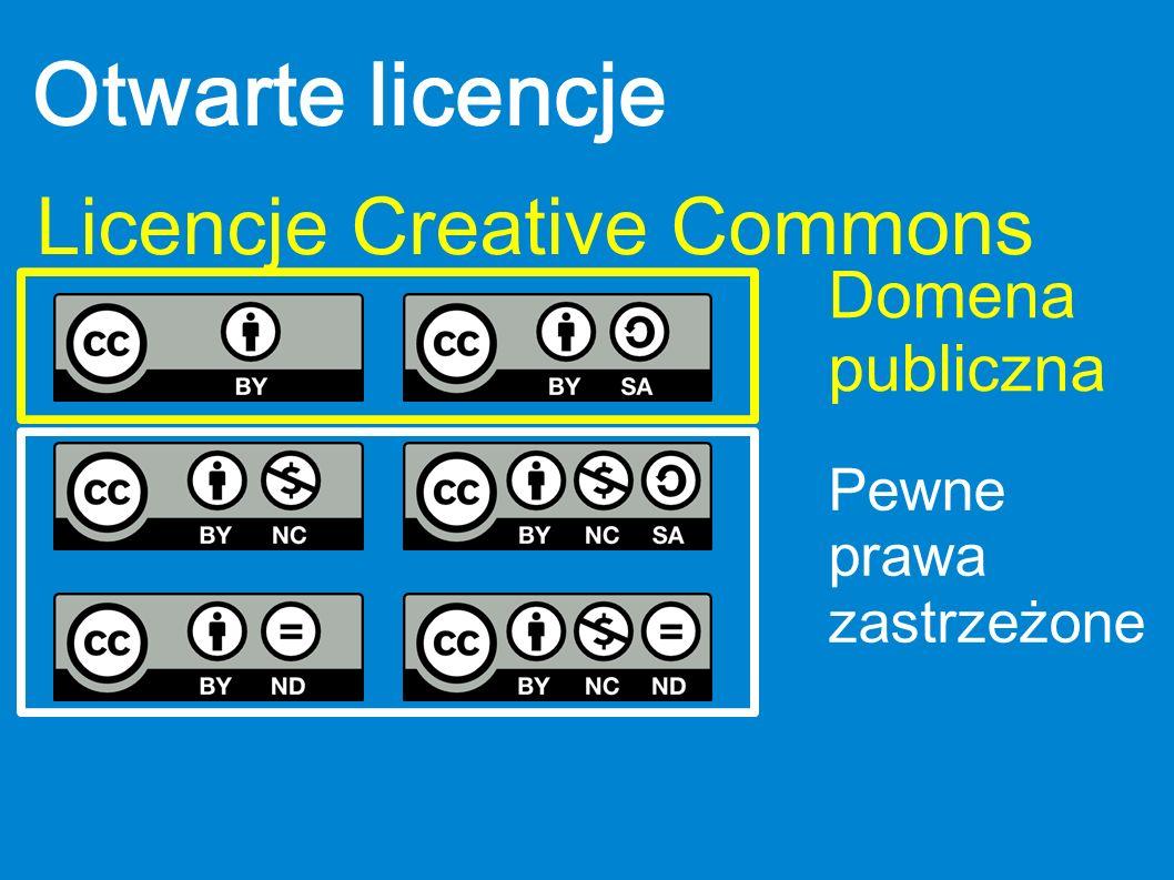 Otwarte licencje Licencje Creative Commons Domena publiczna Pewne