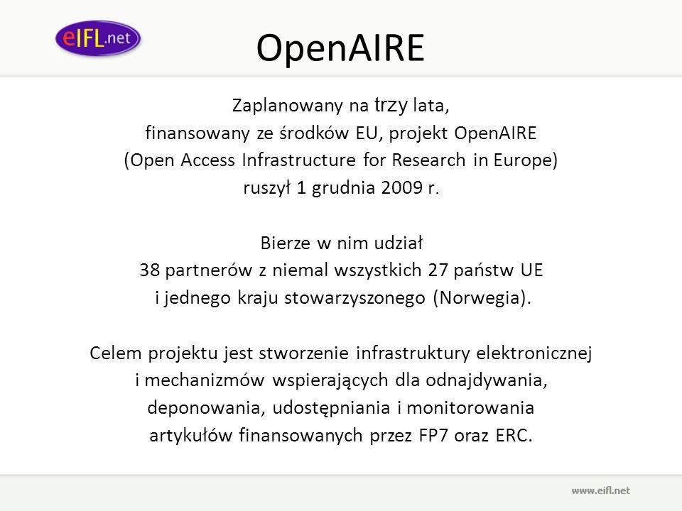 OpenAIRE Zaplanowany na trzy lata,