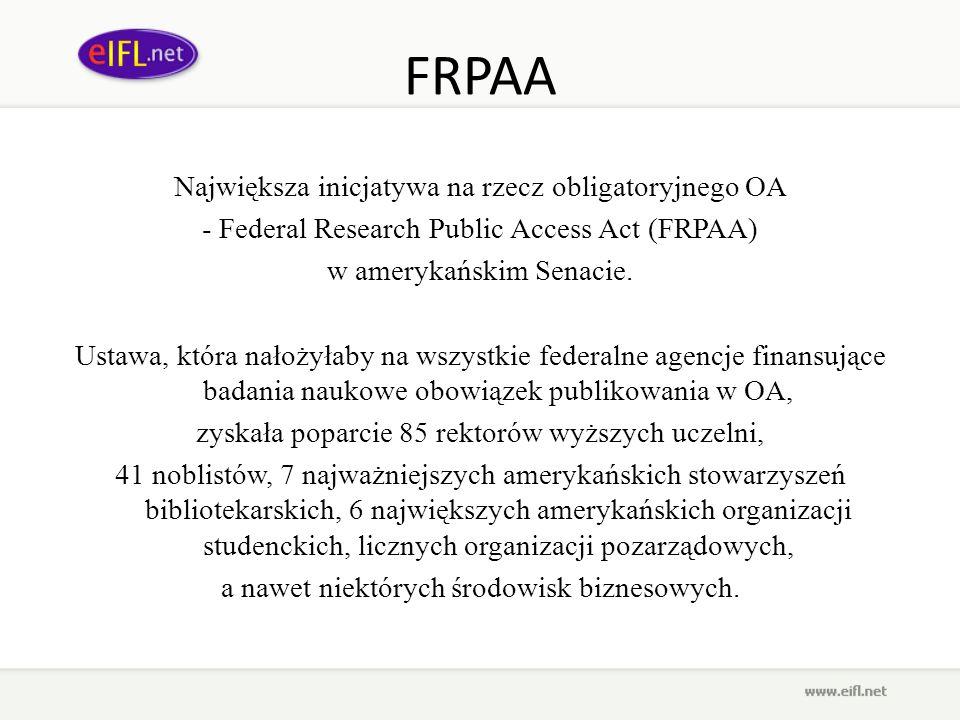 FRPAA Największa inicjatywa na rzecz obligatoryjnego OA
