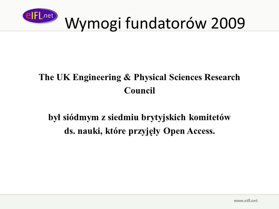 Wymogi fundatorów 2009 The UK Engineering & Physical Sciences Research