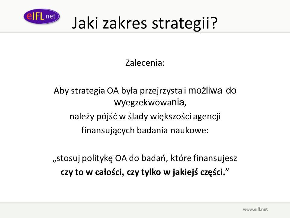Jaki zakres strategii Zalecenia: