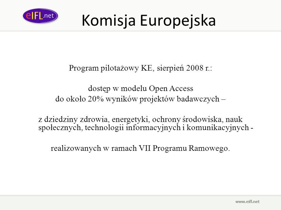 Komisja Europejska Program pilotażowy KE, sierpień 2008 r.: