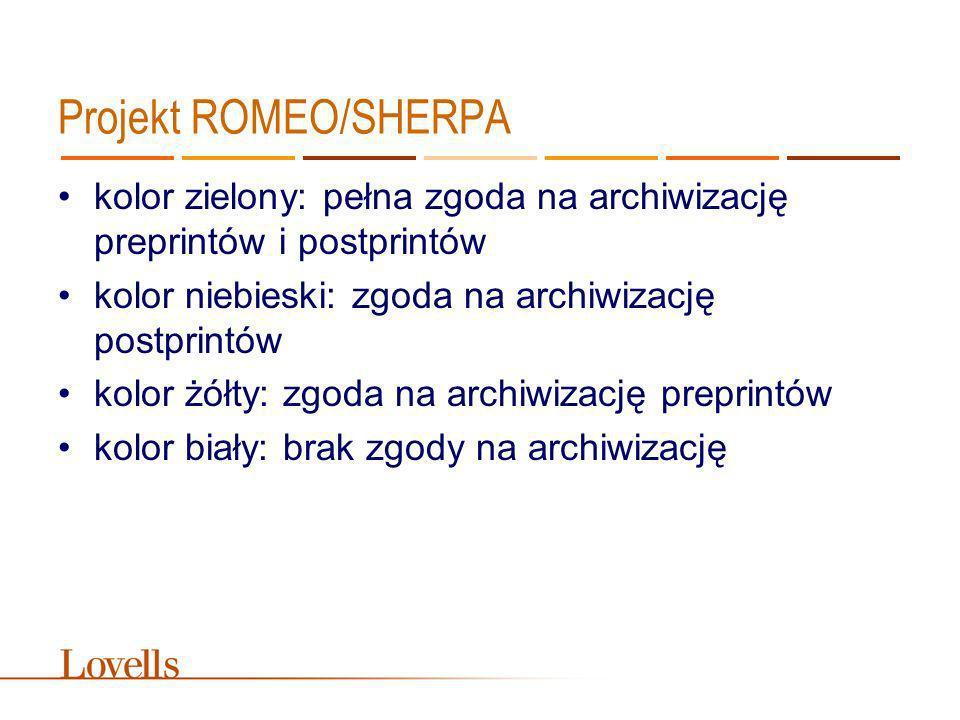 Projekt ROMEO/SHERPA kolor zielony: pełna zgoda na archiwizację preprintów i postprintów. kolor niebieski: zgoda na archiwizację postprintów.