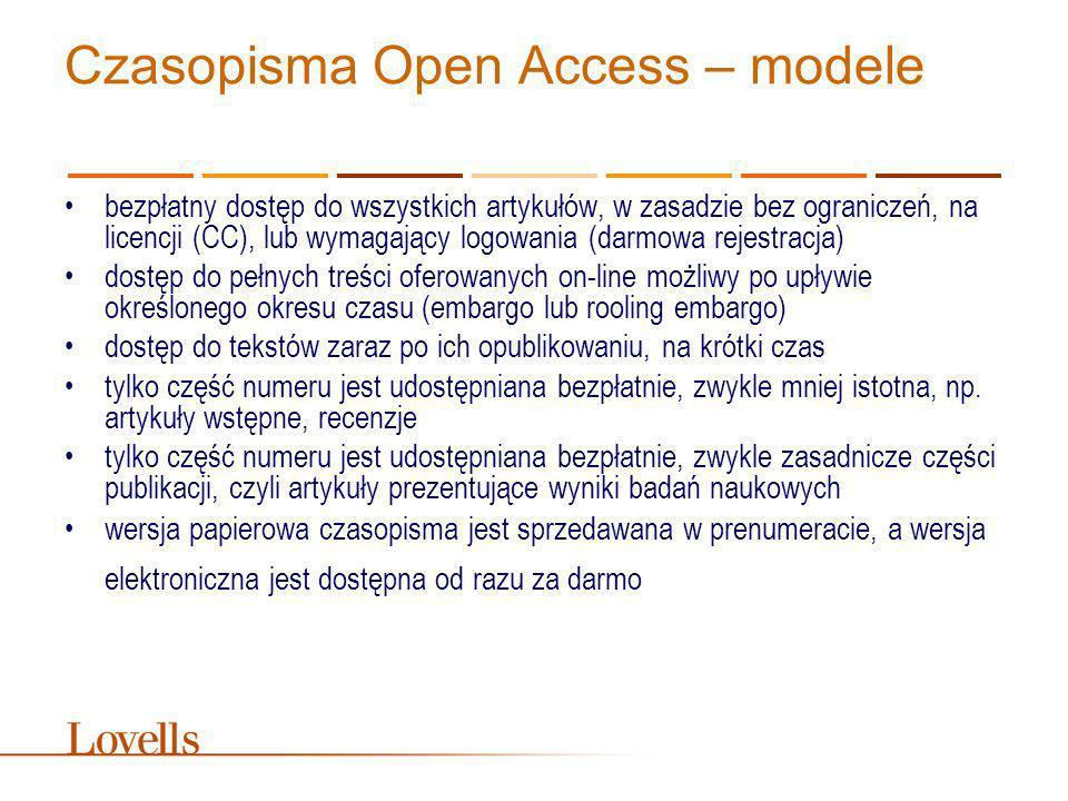 Czasopisma Open Access – modele