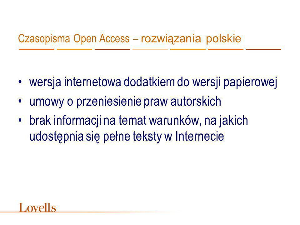 Czasopisma Open Access – rozwiązania polskie