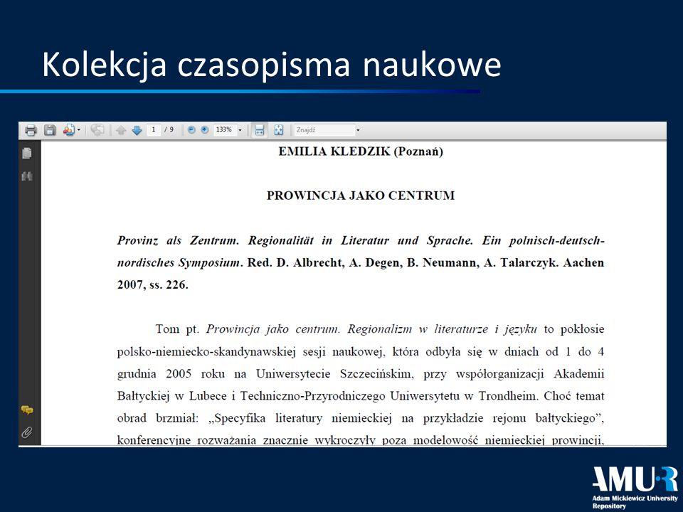 Kolekcja czasopisma naukowe