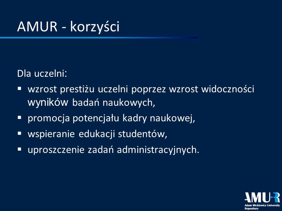 AMUR - korzyści Dla uczelni: