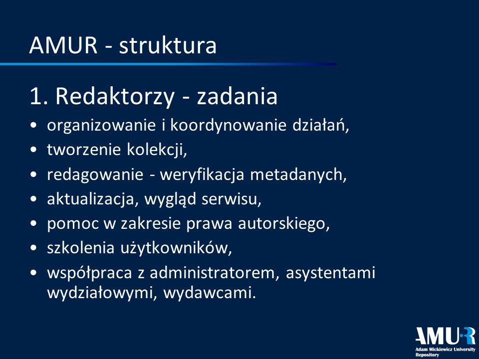 AMUR - struktura 1. Redaktorzy - zadania