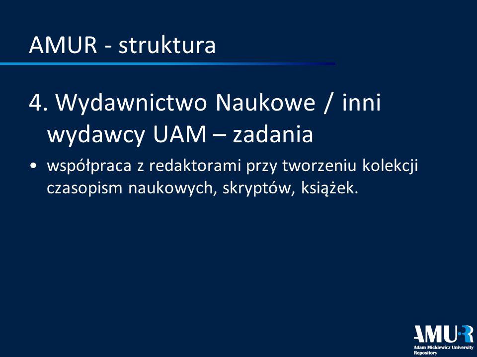 4. Wydawnictwo Naukowe / inni wydawcy UAM – zadania
