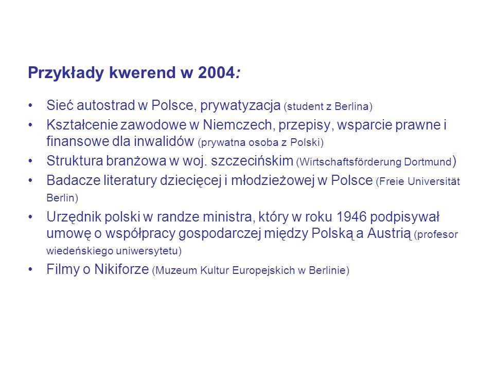 Przykłady kwerend w 2004: Sieć autostrad w Polsce, prywatyzacja (student z Berlina)