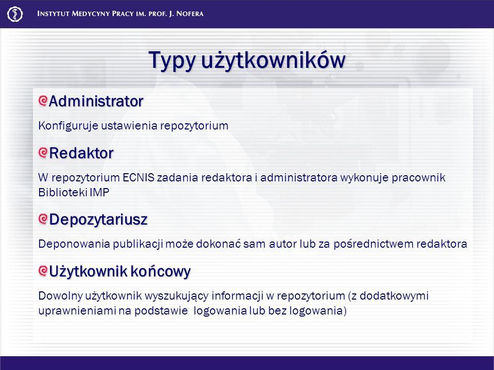 Typy użytkowników Administrator Redaktor Depozytariusz