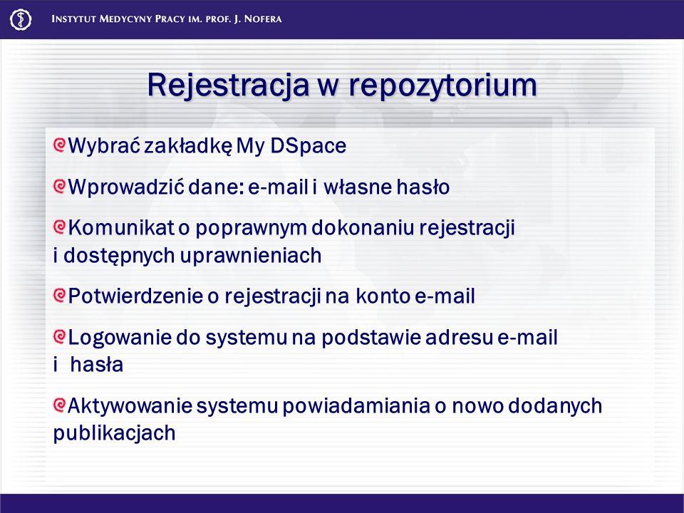Rejestracja w repozytorium