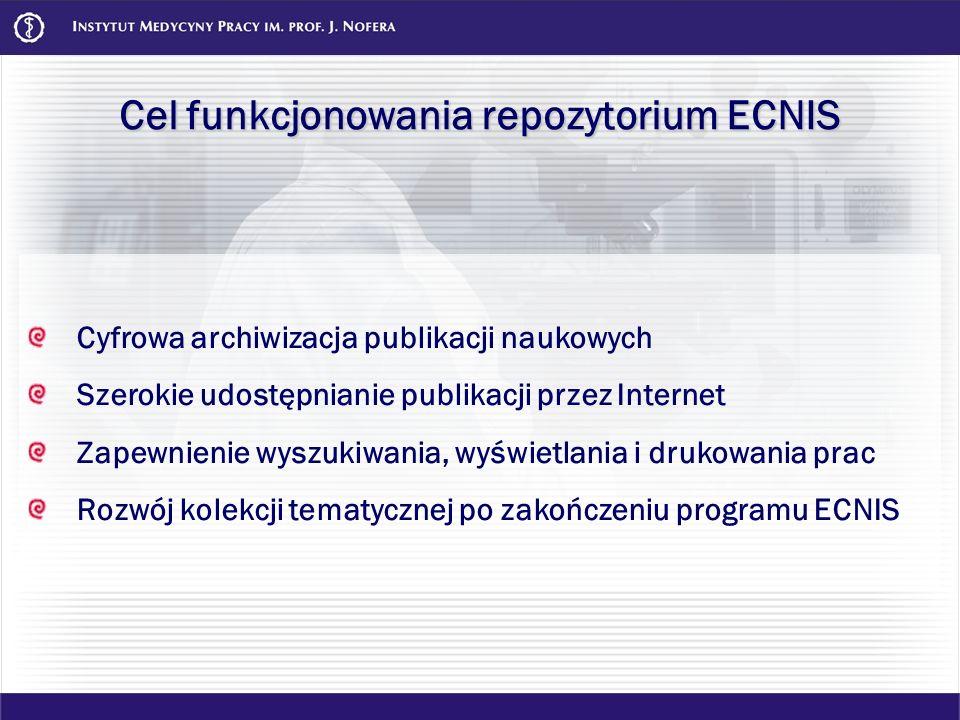 Cel funkcjonowania repozytorium ECNIS