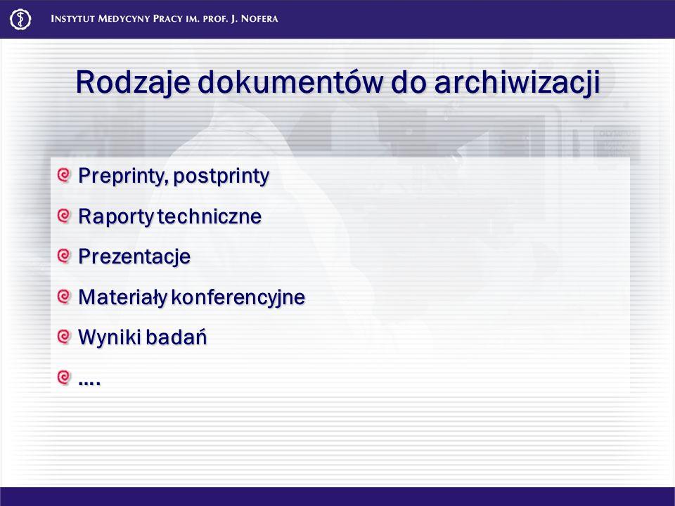 Rodzaje dokumentów do archiwizacji