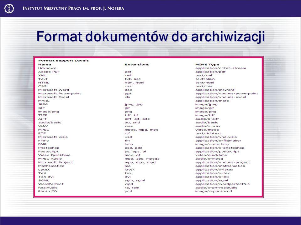 Format dokumentów do archiwizacji