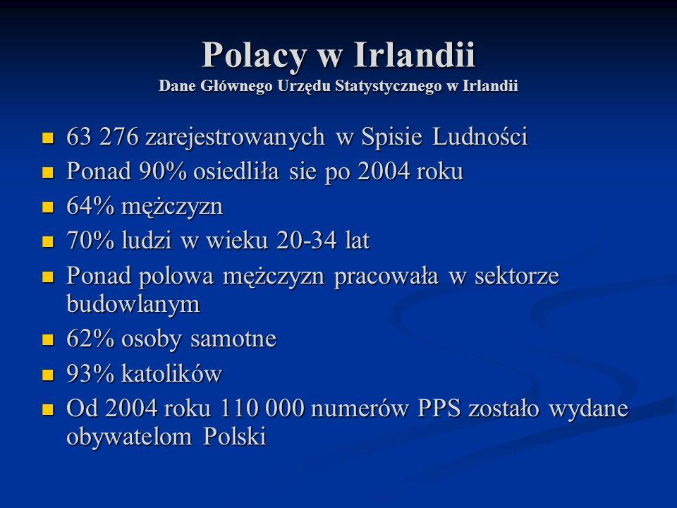 Polacy w Irlandii Dane Głównego Urzędu Statystycznego w Irlandii