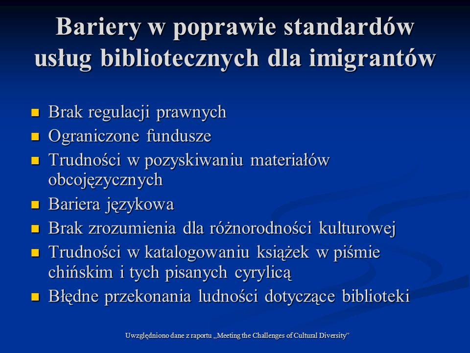 Bariery w poprawie standardów usług bibliotecznych dla imigrantów