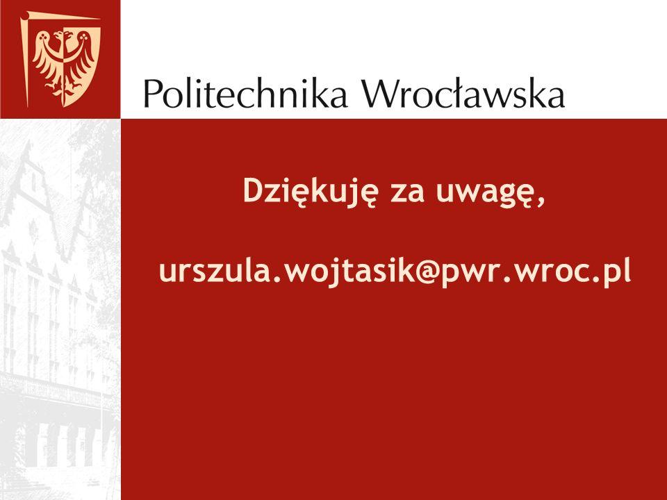 Dziękuję za uwagę, urszula.wojtasik@pwr.wroc.pl
