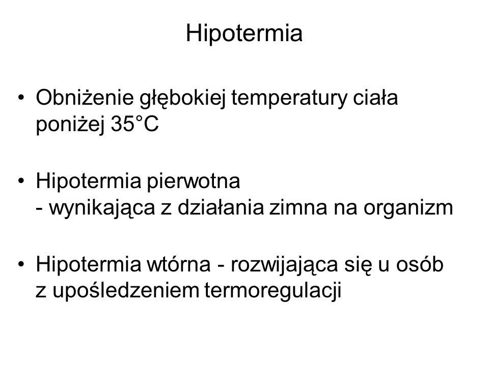 Hipotermia Obniżenie głębokiej temperatury ciała poniżej 35°C