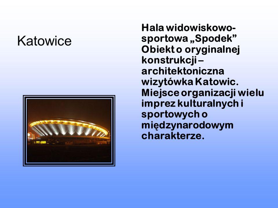 """Hala widowiskowo-sportowa """"Spodek Obiekt o oryginalnej konstrukcji – architektoniczna wizytówka Katowic. Miejsce organizacji wielu imprez kulturalnych i sportowych o międzynarodowym charakterze."""