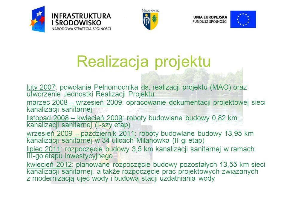 Realizacja projektu luty 2007: powołanie Pełnomocnika ds. realizacji projektu (MAO) oraz utworzenie Jednostki Realizacji Projektu.