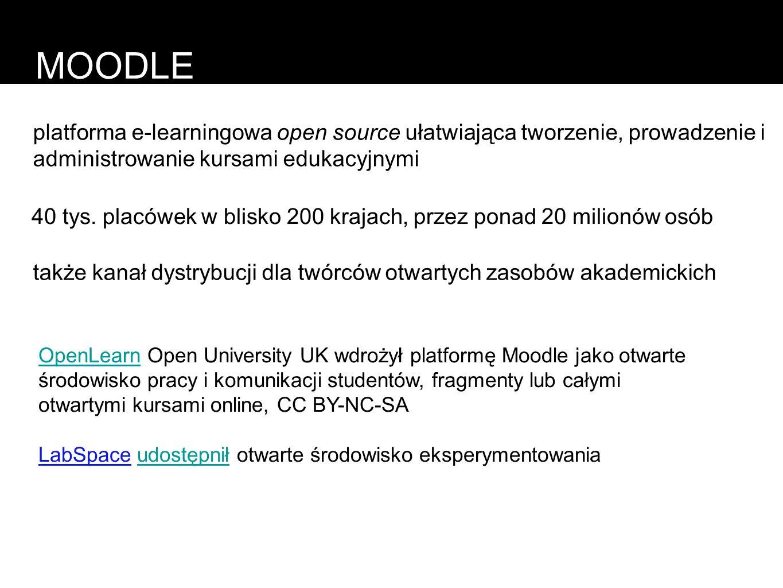 MOODLEplatforma e-learningowa open source ułatwiająca tworzenie, prowadzenie i administrowanie kursami edukacyjnymi.