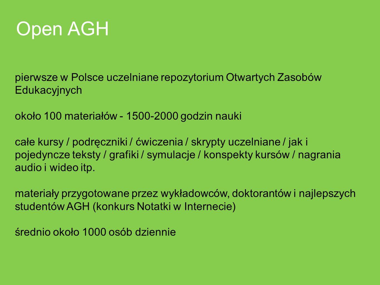 Open AGH pierwsze w Polsce uczelniane repozytorium Otwartych Zasobów Edukacyjnych. około 100 materiałów - 1500-2000 godzin nauki.