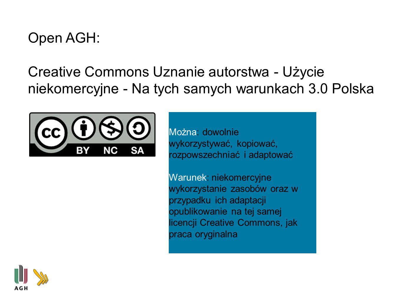 Open AGH: Creative Commons Uznanie autorstwa - Użycie niekomercyjne - Na tych samych warunkach 3.0 Polska.