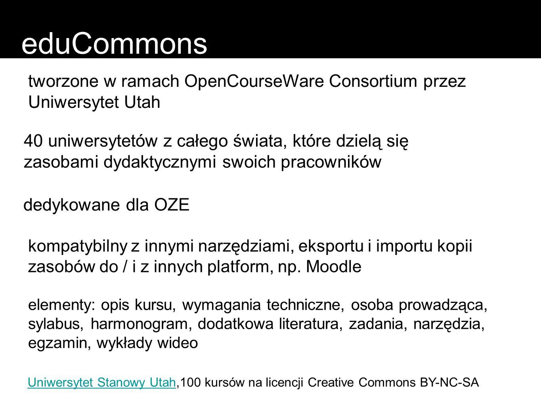 eduCommons tworzone w ramach OpenCourseWare Consortium przez Uniwersytet Utah.