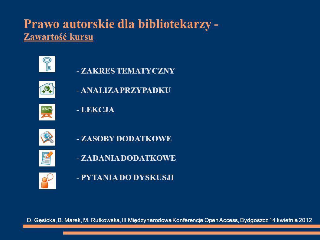 Prawo autorskie dla bibliotekarzy - Zawartość kursu