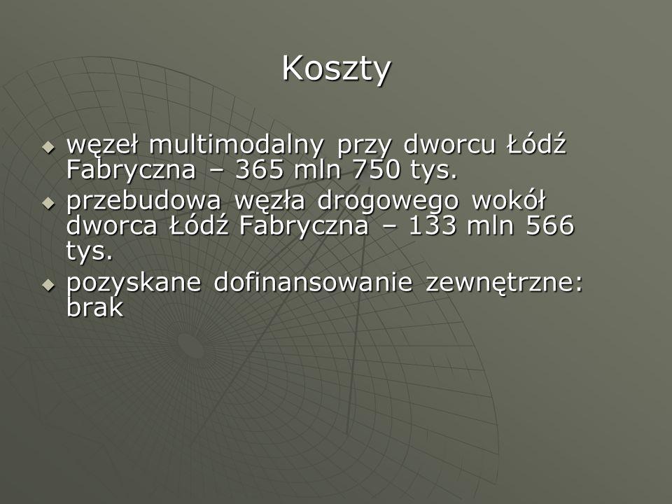 Koszty węzeł multimodalny przy dworcu Łódź Fabryczna – 365 mln 750 tys. przebudowa węzła drogowego wokół dworca Łódź Fabryczna – 133 mln 566 tys.