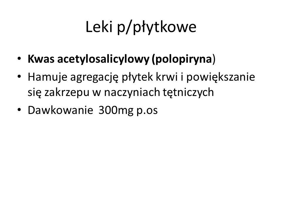 Leki p/płytkowe Kwas acetylosalicylowy (polopiryna)
