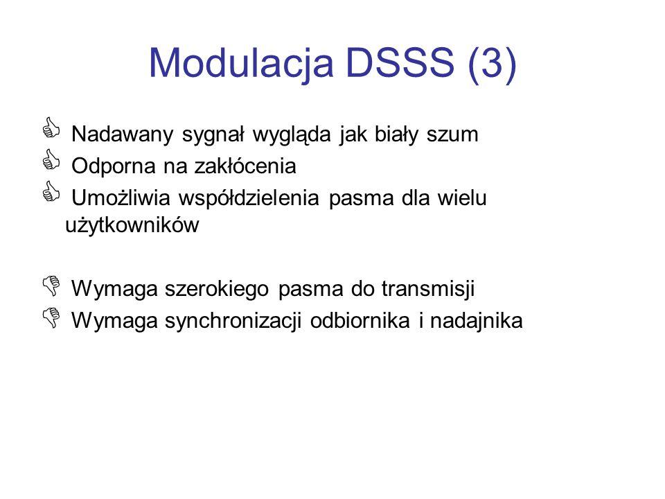 Modulacja DSSS (3) Nadawany sygnał wygląda jak biały szum