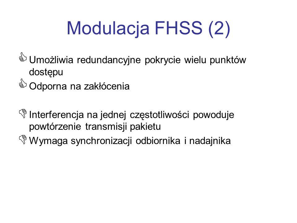 Modulacja FHSS (2) Umożliwia redundancyjne pokrycie wielu punktów dostępu. Odporna na zakłócenia.