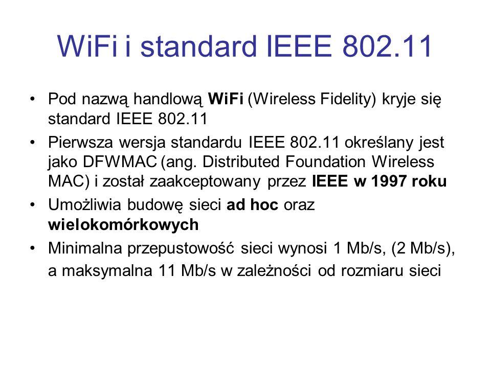 WiFi i standard IEEE 802.11 Pod nazwą handlową WiFi (Wireless Fidelity) kryje się standard IEEE 802.11.