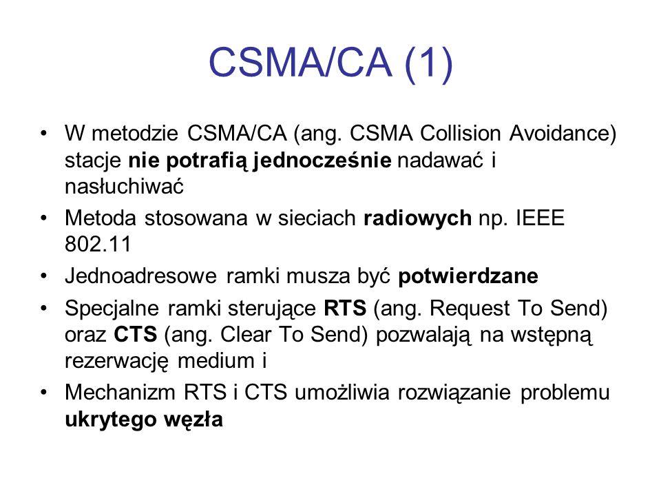CSMA/CA (1) W metodzie CSMA/CA (ang. CSMA Collision Avoidance) stacje nie potrafią jednocześnie nadawać i nasłuchiwać.