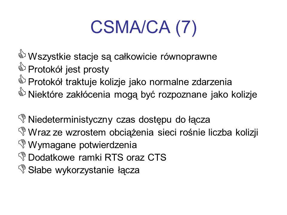 CSMA/CA (7) Wszystkie stacje są całkowicie równoprawne