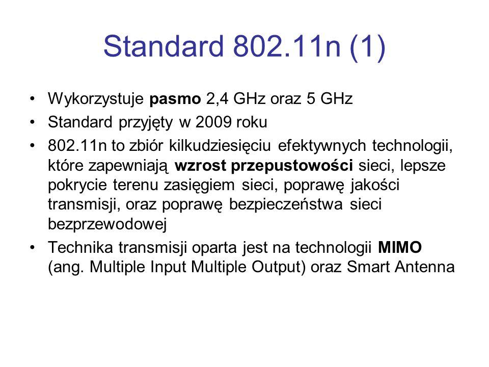 Standard 802.11n (1) Wykorzystuje pasmo 2,4 GHz oraz 5 GHz