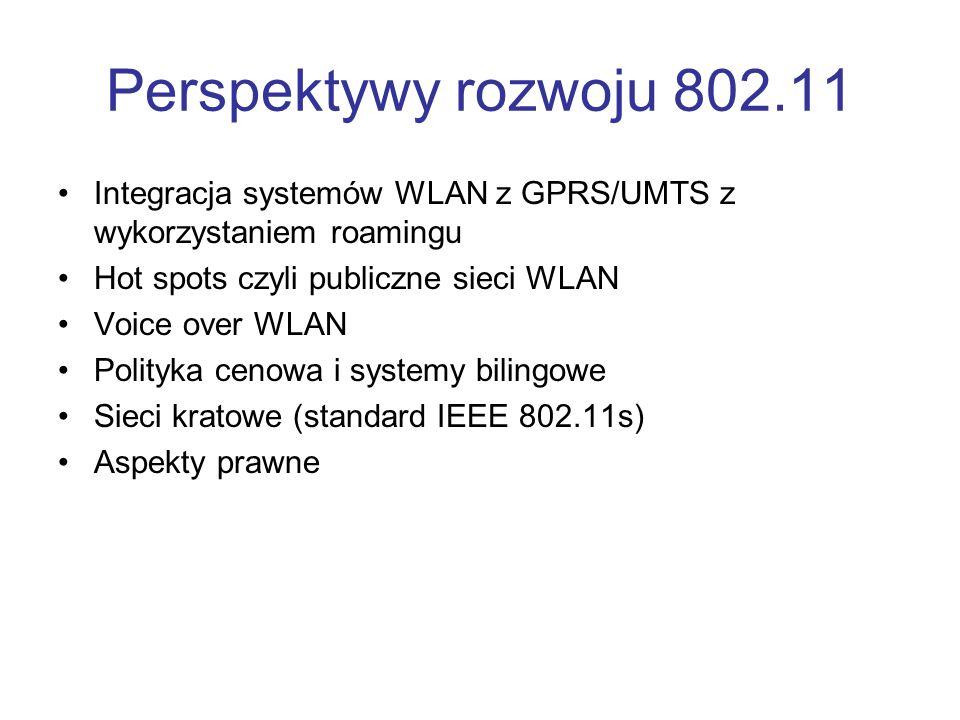 Perspektywy rozwoju 802.11 Integracja systemów WLAN z GPRS/UMTS z wykorzystaniem roamingu. Hot spots czyli publiczne sieci WLAN.