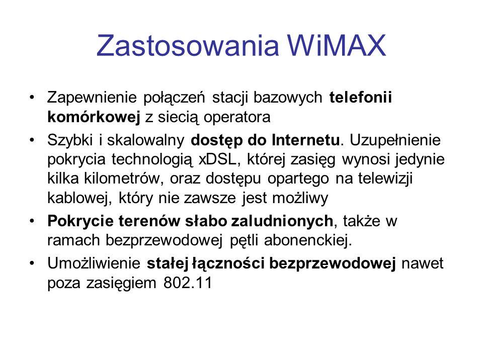 Zastosowania WiMAX Zapewnienie połączeń stacji bazowych telefonii komórkowej z siecią operatora.