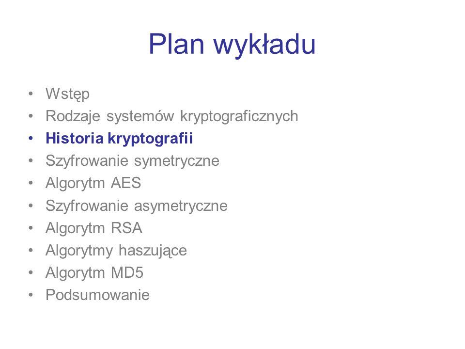 Plan wykładu Wstęp Rodzaje systemów kryptograficznych