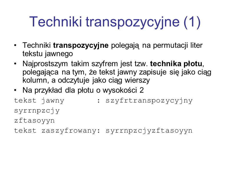 Techniki transpozycyjne (1)