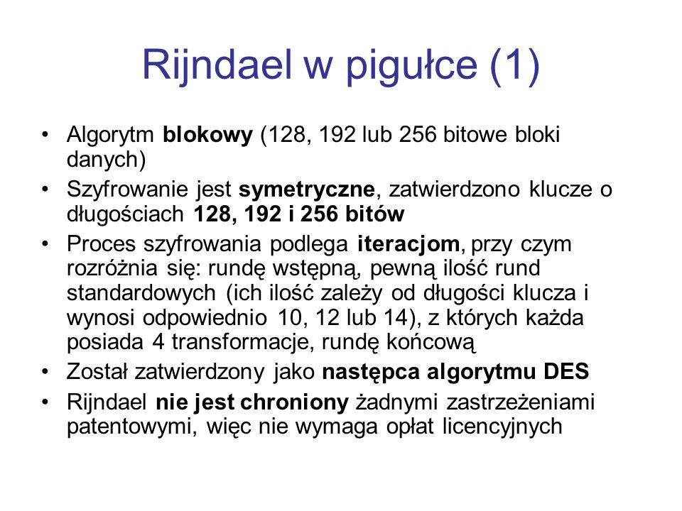 Rijndael w pigułce (1) Algorytm blokowy (128, 192 lub 256 bitowe bloki danych)