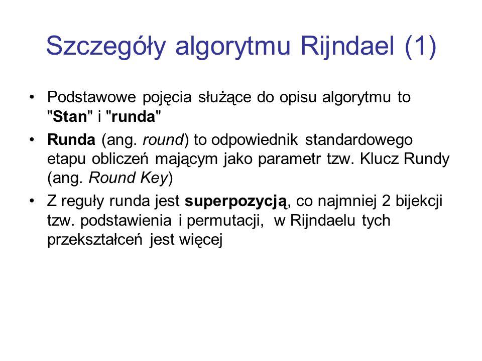 Szczegóły algorytmu Rijndael (1)
