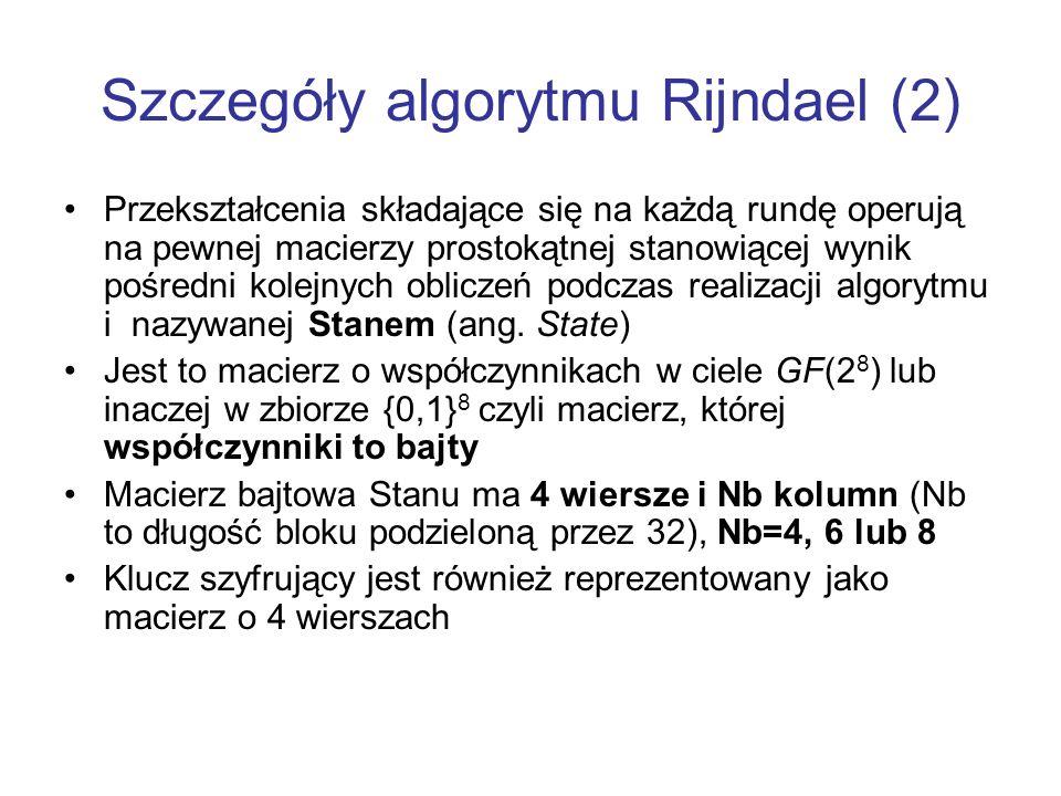 Szczegóły algorytmu Rijndael (2)