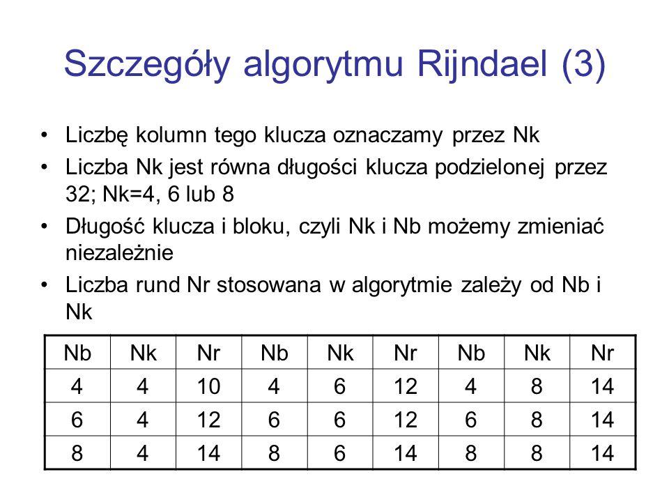 Szczegóły algorytmu Rijndael (3)