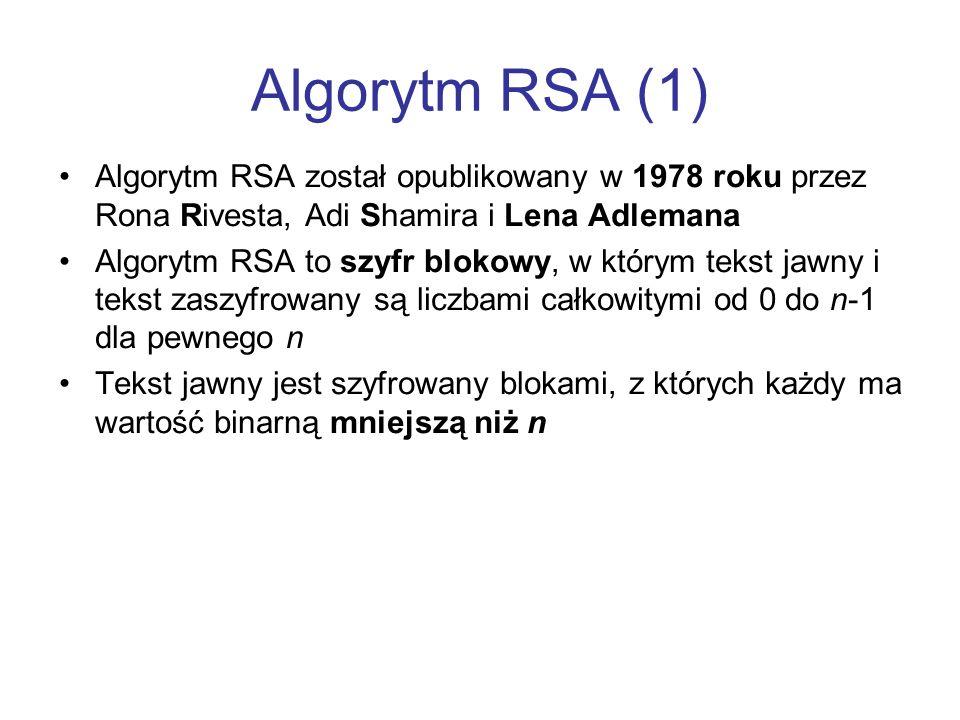 Algorytm RSA (1)Algorytm RSA został opublikowany w 1978 roku przez Rona Rivesta, Adi Shamira i Lena Adlemana.